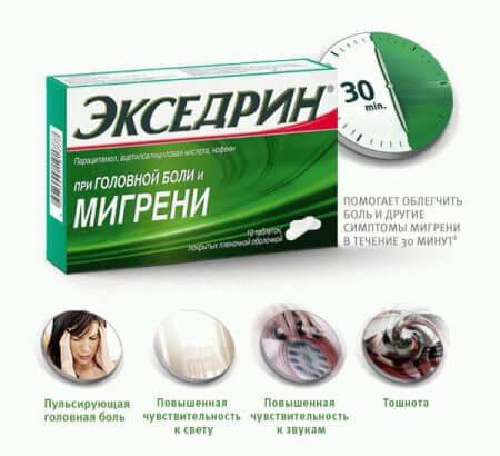 Экседрин действие препарата