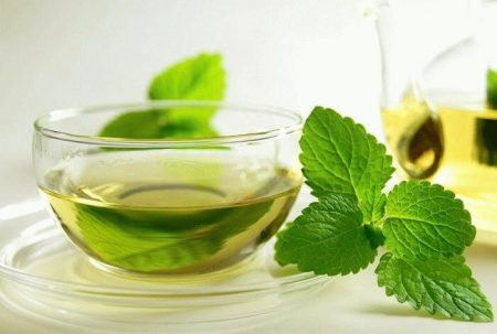 чашка зеленого чая с мятой
