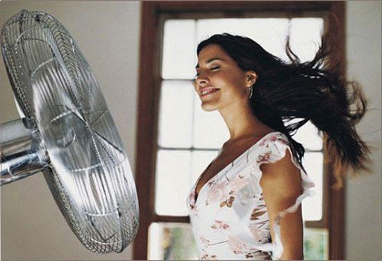 Вентилятор развивает волосы у женщины